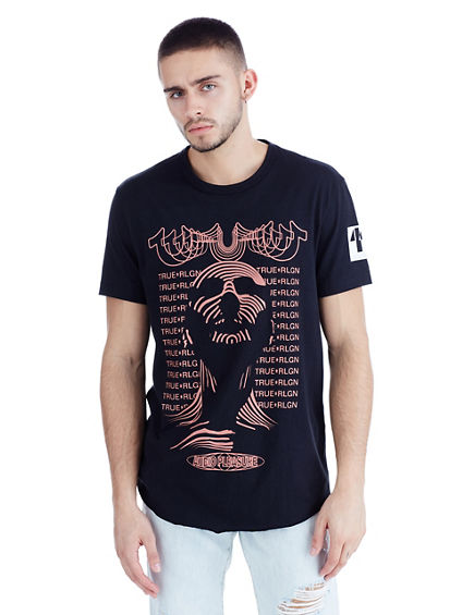 CURVED HEM PRINTED MENS TEE