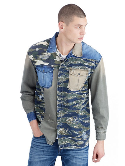 MENS MIXED CAMO DENIM PATCH SHIRT