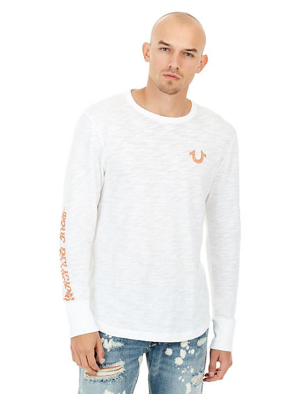 MENS DISTORTED GRAPHIC LONG SLEEVE SHIRT | Tuggl