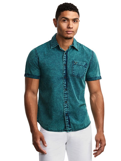 MENS WASHED ROLL UP SHIRT