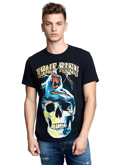 MENS VINTAGE INSPIRED SKULL GRAPHIC TEE