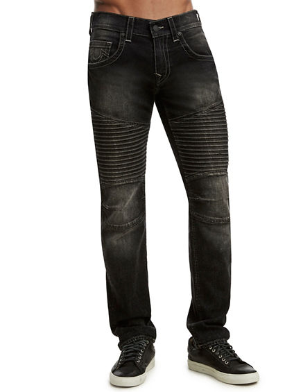 SLIM FIT PLEATED MOTO JEAN