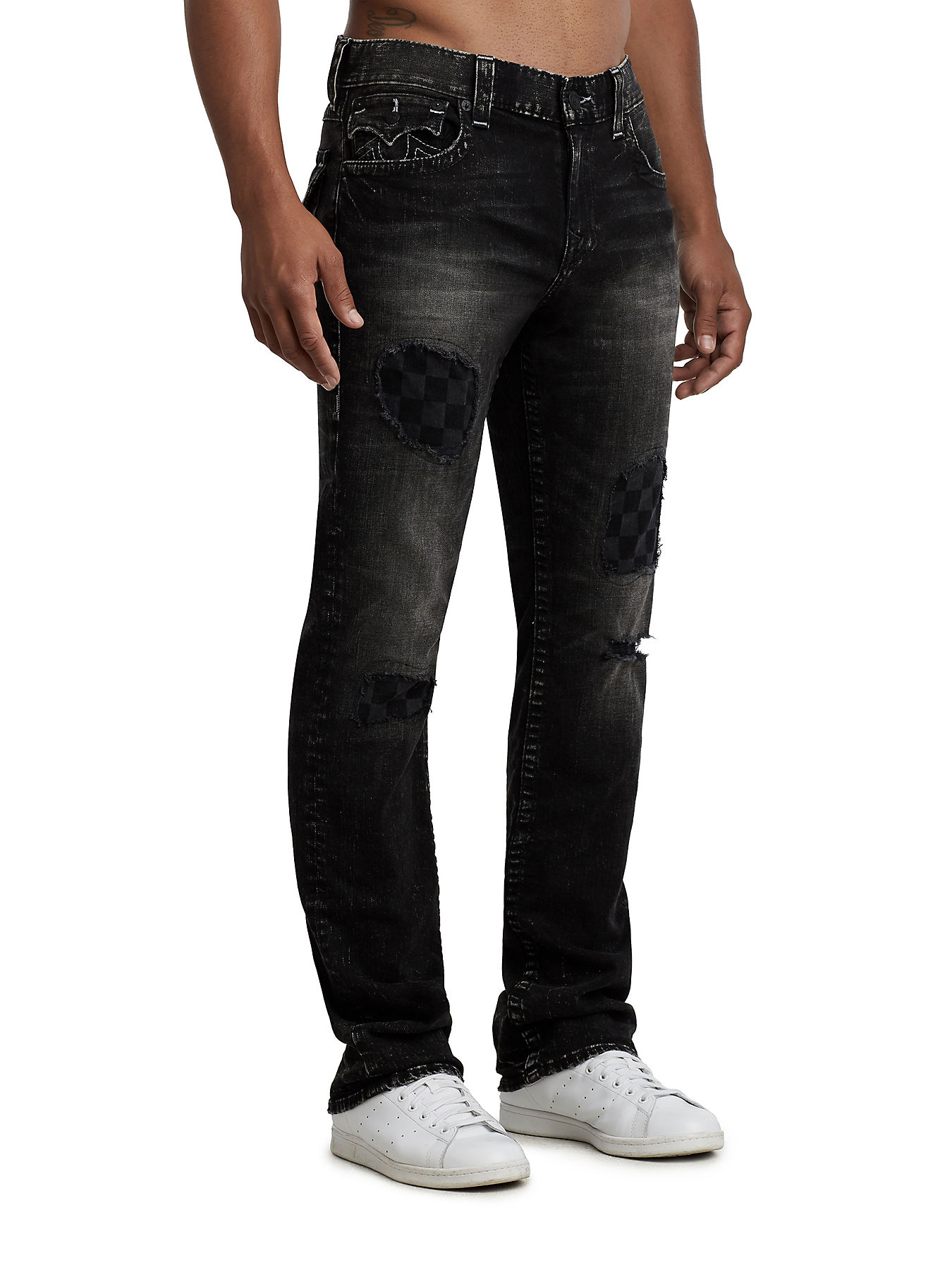 straight fit checkered patch jean true religion
