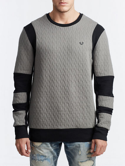 MENS HEAVYWEIGHT QUILTED MOTO PULLOVER