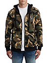 MENS BIG T METALLIC PUFF PRINT ZIP UP HOODIE