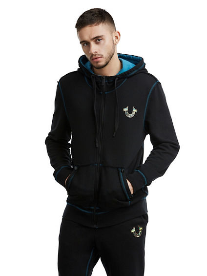 MENS RAW EDGE STAINED GLASS ZIP UP HOODIE
