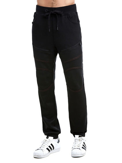 MENS CONTRAST STITCH COATED MOTO SWEATPANT