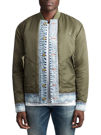 MENS DENIM FLIGHT BOMBER JACKET