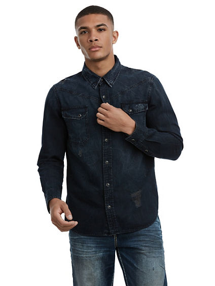 MENS DISTRESSED CARTER WESTERN SHIRT