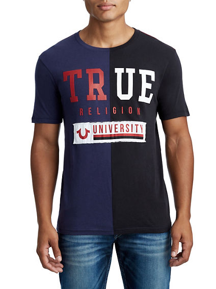 MENS COLORBLOCK TR UNIVERSITY GRAPHIC TEE
