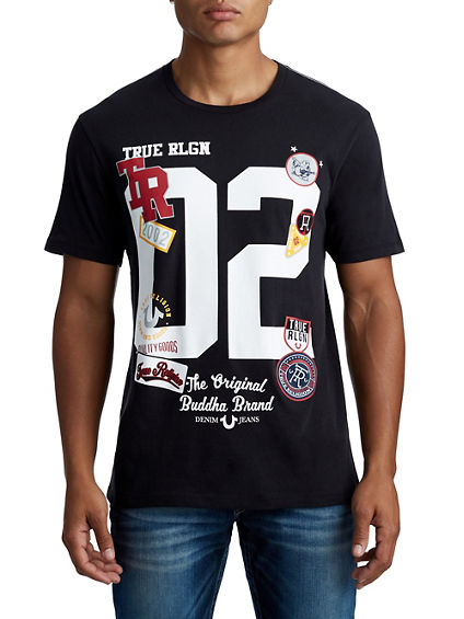 MENS VARSITY LETTERS AND PATCHES GRAPHIC TEE