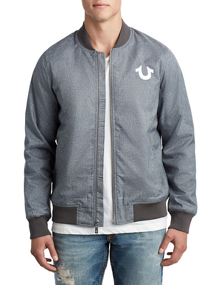 MENS BOXY DENIM BOMBER JACKET