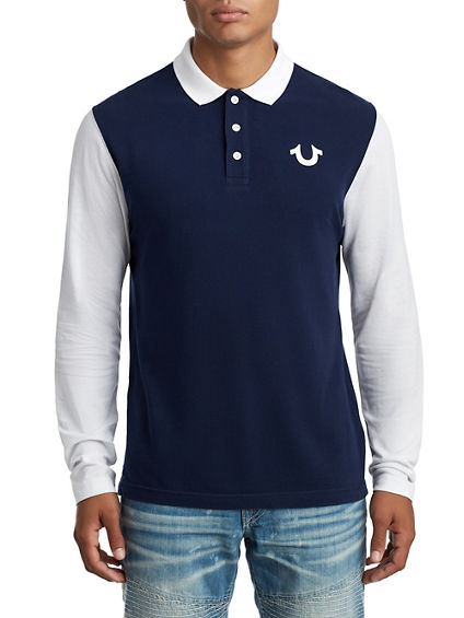 MENS LONG SLEEVE LOGO POLO