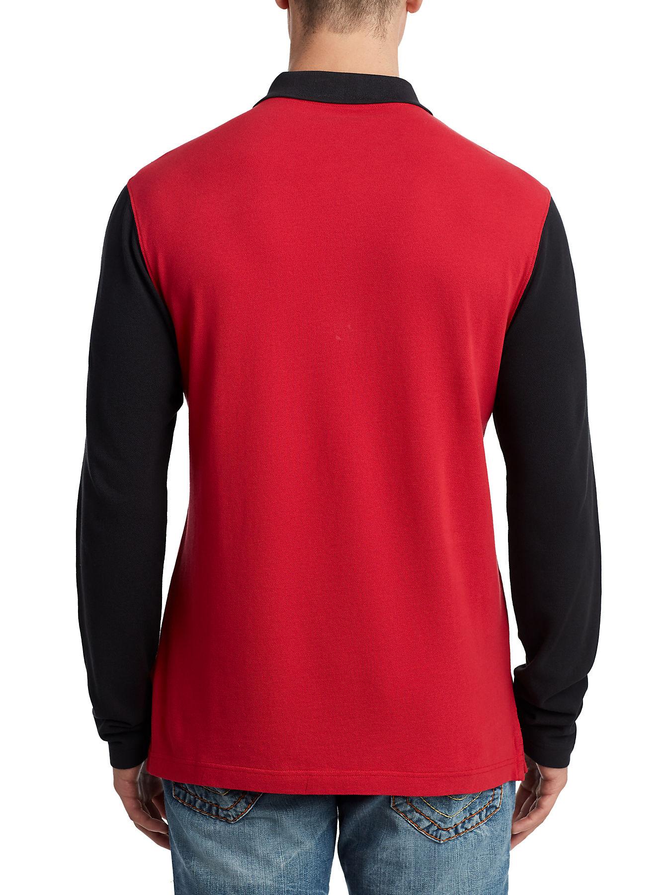Mens Long Sleeve Logo Polo