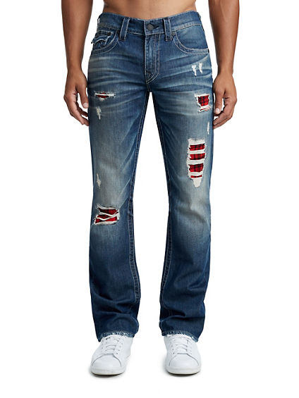 MENS PLAID LINING STRAIGHT JEAN W/ FLAP
