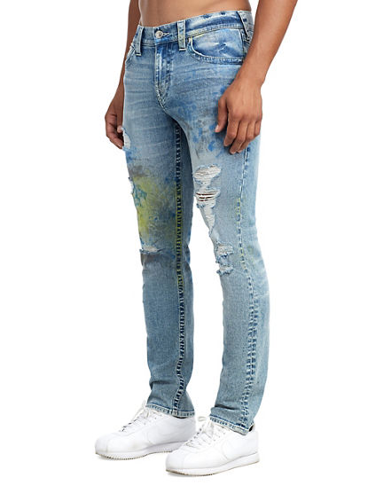 MENS DISTRESSED NEON PAINT SLIM JEAN W/ FLAP
