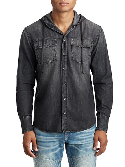 MENS DENIM SHIRT W/ HOOD
