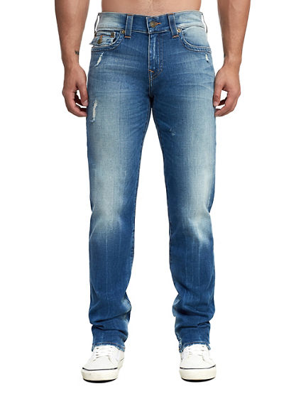 MENS DISTRESSED GENO SLIM JEAN W/ FLAP
