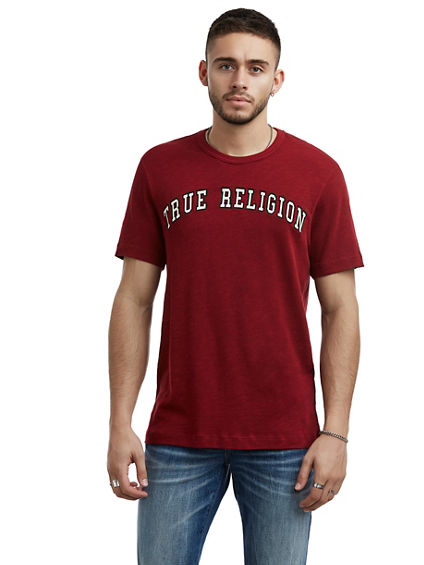 MENS VARSITY EMBROIDERED LOGO TEE