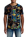 MENS METALLIC STAINED GLASS GRAPHIC TEE