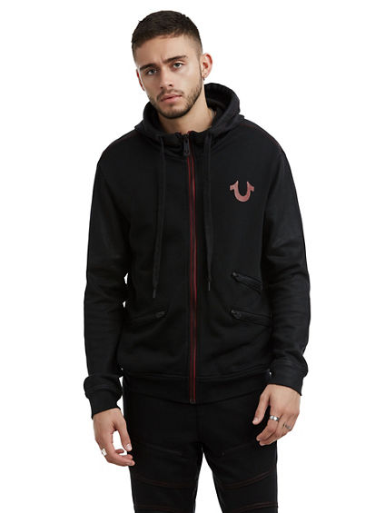 MENS CONSTRAST STITCH COATED ZIP UP HOODIE