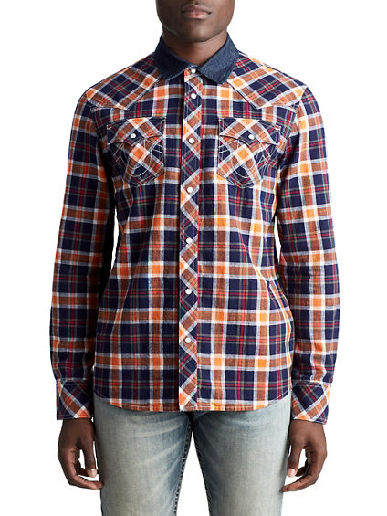 MENS MIXED DENIM PLAID BUTTON UP SHIRT