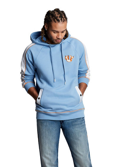 COLOR BLOCKED HOODED PULLOVER