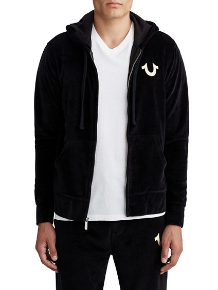MENS VELOUR ZIP UP HOODIE