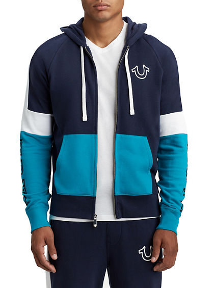 MENS TRI COLOR ZIP UP HOODIE