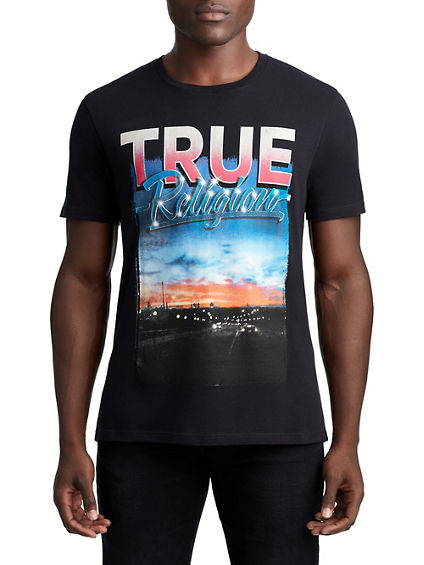 MENS RETRO SUNSET GRAPHIC TEE