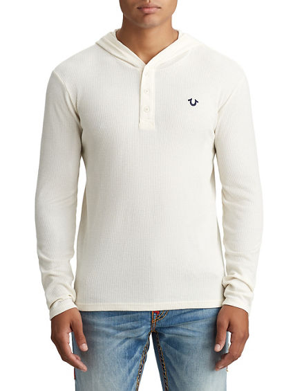 MENS HOODED THERMAL HENLEY