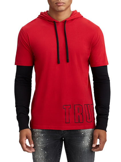 MENS LAYERED PULLOVER HOODIE