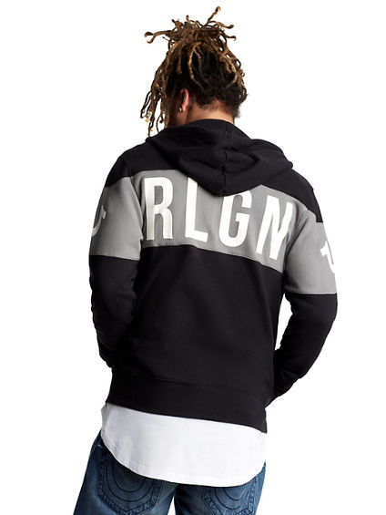 MENS STRIPED LOGO ZIP UP HOODIE