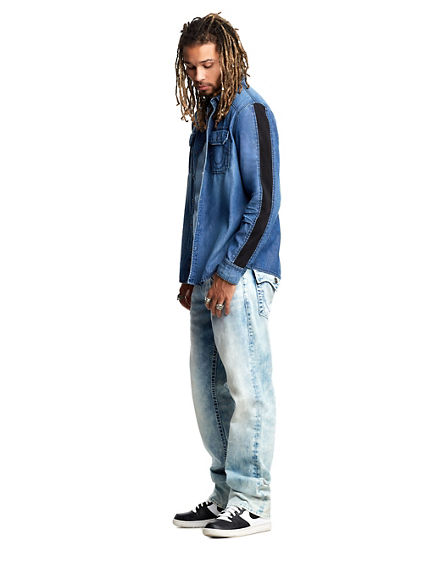 MENS MULTI BIG T STRAIGHT JEAN W/ FLAP