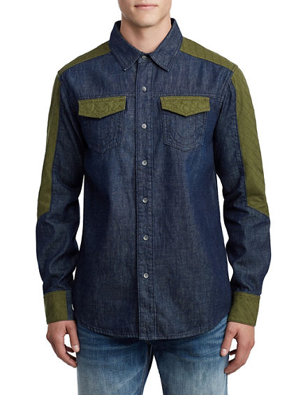MENS QUILTED WESTERN DENIM SHIRT