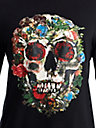 MENS FLORAL SKULL EMBROIDERED LOGO TEE