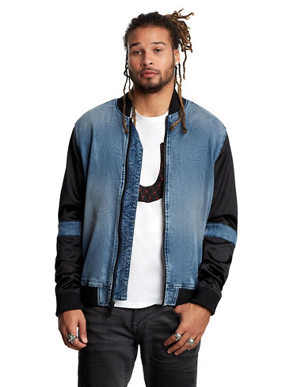 MENS CUT AND SEW DENIM BOMBER JACKET