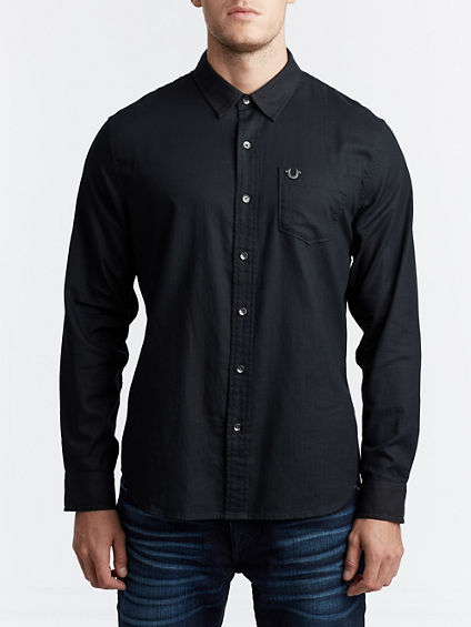 MENS CLASSIC HERRINGBONE BUTTON UP SHIRT