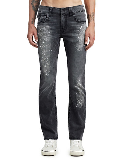 MENS PAINT SPLATTER BIG T STRAIGHT JEAN W/ FLAP