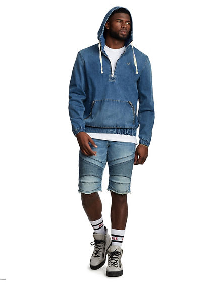 HOODED PULLOVER JEAN JACKET