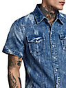 MENS MARBLED DENIM BUTTON DOWN WESTERN SHIRT