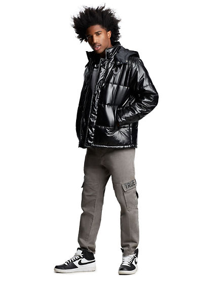 MENS QUILTED PUFFER JACKET W/ HOOD