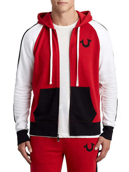 MENS COLORBLOCK RAGLAN ZIP UP HOODIE