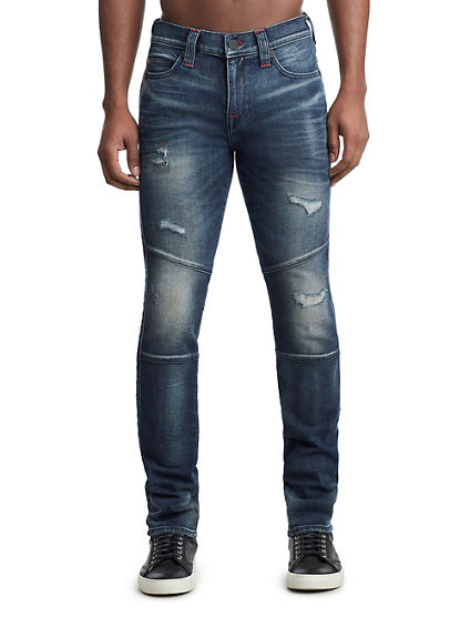 MENS TR X MANCHESTER UNITED DISTRESSED MOTO ROCCO SKINNY JEAN