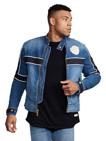 TR X MANCHESTER UNITED DENIM MOTO JACKET