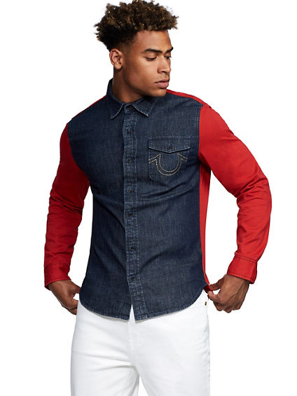 TR X MANCHESTER UNITED COLORBLOCK DENIM SHIRT