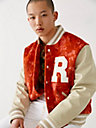 LEATHER TIE DYE VARSITY JACKET