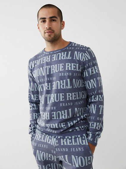 ALLOVER PRINT CREWNECK SWEATSHIRT