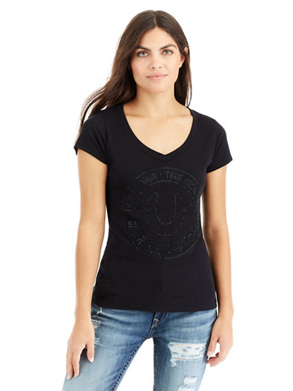 CRYSTAL HORSESHOE ROUNDED V NECK WOMENS TEE