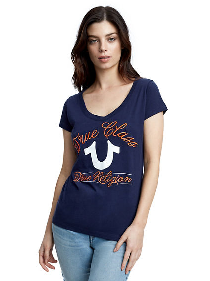 TRUE CLASS EMBROIDERED WOMENS V NECK TEE